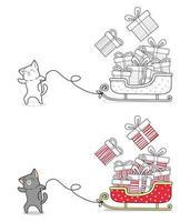 gato está puxando uma página para colorir de desenho animado de trenó