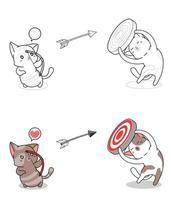 página para colorir gato atirando com arco e flecha
