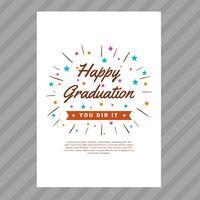 Cartão de formatura com vetor de estilo de tipografia
