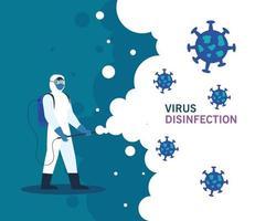 pessoa com roupa de proteção para desinfecção de coronavírus vetor