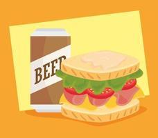 design de fast food com delicioso sanduíche e uma lata de cerveja vetor
