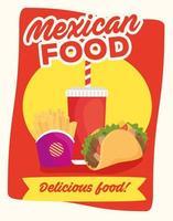 cartaz de comida mexicana vetor