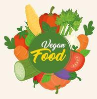banner com vegetais frescos e saudáveis para o conceito de comida vegana vetor