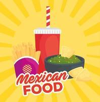 pôster de fast food com comida mexicana, guacamole e bebidas vetor