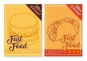 Conjunto de pôsteres de fast food com vinte por cento de desconto vetor