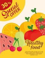 oferta especial de cartaz publicitário com frutas frescas vetor