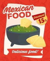 pôster de comida mexicana com desconto vetor