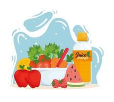 conceito de comida saudável e vegana com vegetais e frutas vetor