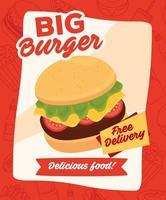 pôster de hambúrguer fast food com mensagem de entrega grátis vetor