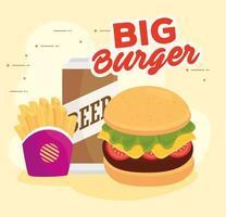 pôster de fast food com hambúrguer, cerveja e batata frita vetor