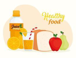 conceito de alimentação saudável com frutas, pão e suco vetor