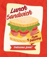 pôster de sanduíche de fast food com mensagem de entrega grátis vetor