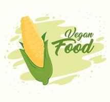 conceito de comida vegana com espiga de milho fresca vetor
