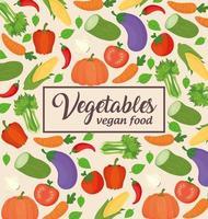 banner de vegetais, conceito de comida saudável e vegana vetor