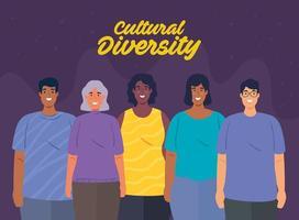 cartaz de grupo multiétnico de pessoas juntas, conceito de diversidade e multiculturalismo vetor