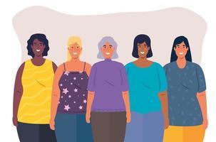 grupo multiétnico de mulheres juntas, conceito de diversidade e multiculturalismo vetor