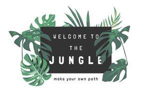 bem-vindo ao slogan da selva com ilustração de folhas tropicais em fundo preto