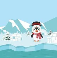pinguins no pólo norte vetor