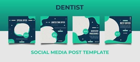 conjunto de banner web quadrado dentista promoção médica vetor
