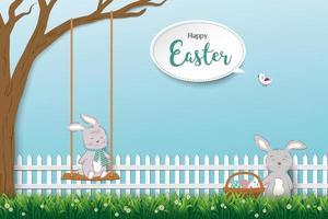 coelhos fofos felizes em lindo jardim para a páscoa