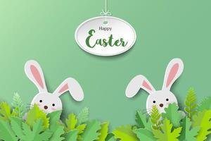 papel arte estilo coelhos bonitos em folhas em fundo verde para a Páscoa vetor