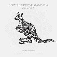 mandala de canguru. elementos decorativos vintage. padrão oriental, ilustração vetorial. vetor