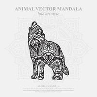 mandala de lobo. elementos decorativos vintage. padrão oriental, ilustração vetorial. vetor