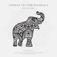 mandala de elefante. elementos decorativos vintage. padrão oriental, ilustração vetorial. vetor