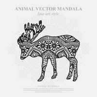 mandala de alce. elementos decorativos vintage. padrão oriental, ilustração vetorial. vetor