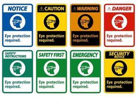 proteção ocular necessária símbolo sinal isolado em fundo branco vetor