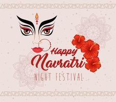 Pôster de comemoração hindu navratri com rosto de durga e decoração de flores vetor