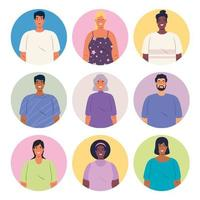 ícones de avatar multiétnico de grupo de pessoas vetor