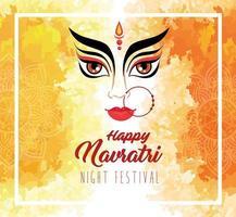 pôster de celebração hindu navratri com rosto de durga vetor