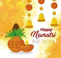 pôster hindu de comemoração do navratri com enfeites vetor