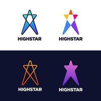 conjunto de logotipo de estrela longa vetor