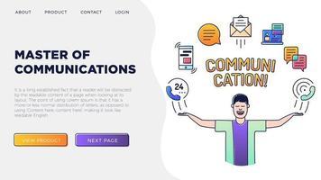 homem segurando ícones de comunicação