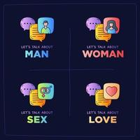 vamos falar sobre mulher, homem, sexo, amor vetor