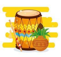Cartaz de celebração hindu do Navratri com tambor e decorações vetor