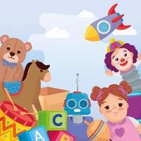 fundo de brinquedos infantis fofos vetor