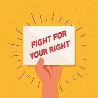 revolução, protesto, braço erguido, punho levantado para lutar por seu direito vetor