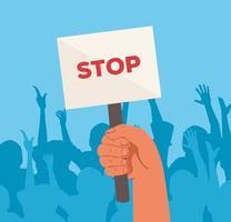 mão com placa de protesto sinal de parada vetor