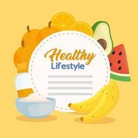 banner de estilo de vida saudável com vegetais, frutas e alimentos