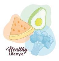 banner de estilo de vida saudável com vegetais e frutas