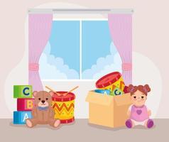 brinquedos infantis fofos no quarto vetor