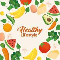 banner de estilo de vida saudável com vegetais, frutas e alimentos vetor