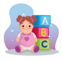 brinquedos infantis, boneca fofa e cubos de alfabeto com letras abc vetor