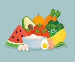 banner de comida saudável com frutas e vegetais frescos