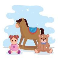 brinquedos infantis, cavalo de balanço de madeira com ursinho de pelúcia e boneca fofa vetor