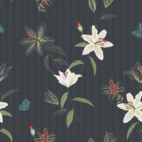 Bela mão desenhada lírio flores sem costura padrão em fundo escuro, para decoração, tecido, têxtil, impressão ou papel de parede vetor