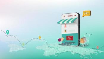 conceito de negócio isométrico com compras online no site ou aplicativo móvel